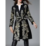 cheap Vintage Floral Embroidered Wool Coat