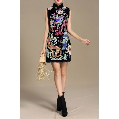 Stand Collar Floral Embroidered Dress