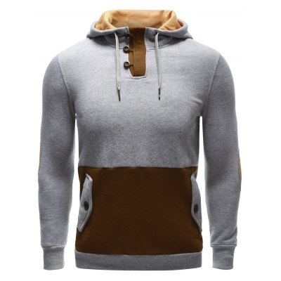 Pocket Button Up Elbow Patch Hoodie