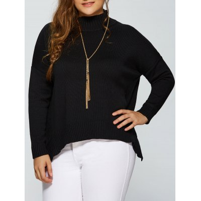 Plus Size Drop Shoulder Side Slit Sweater