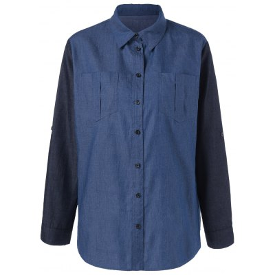 Plus Size Adjustable Sleeve Denim Shirt