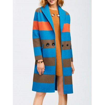 Shawl Collar Coat With Color Block Design