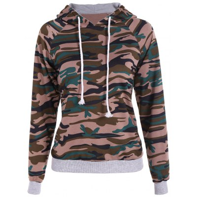 Pullover Camouflage Print Paneled Hoodie