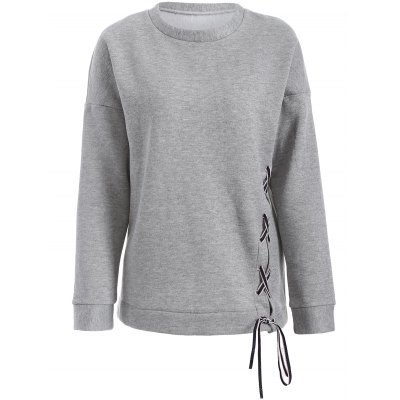 Lace-Up Fleece Sweatshirt