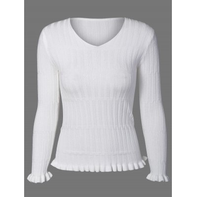 Ruffled Ribbed Sweater