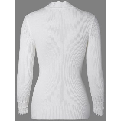 High Neck Scalloped Cable Knitted Sweater
