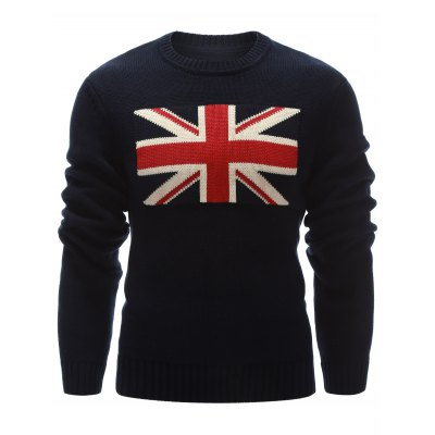 Flag Pattern Crew Neck Flat Knitted Sweater