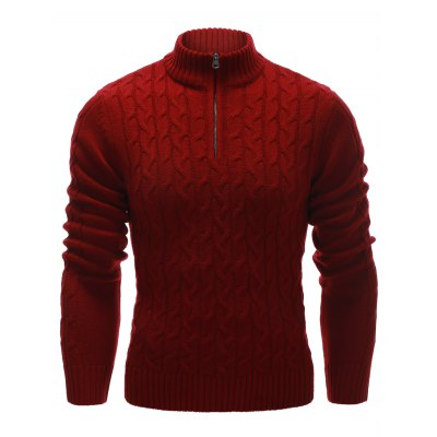 Half Zip Up Cable Knit Sweater