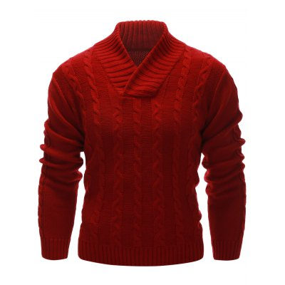 Rib Hem Cable Knit Pullover Sweater