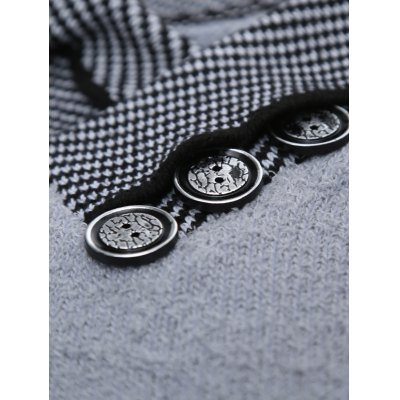 Shawl Collar Button Embellished Badge Sweater