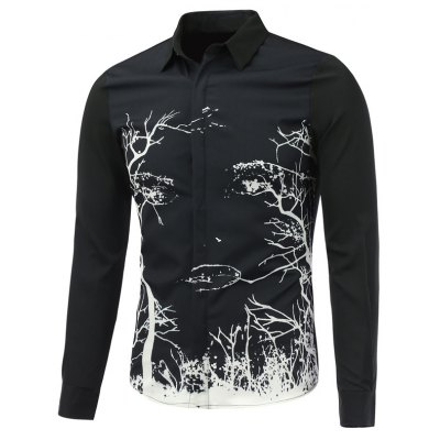 Abstract Tree Printed Long Sleeve Button Shirt