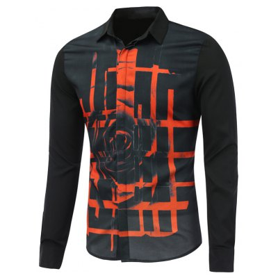 Abstract Rose Printed Long Sleeve Button Shirt