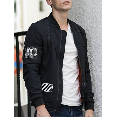 D Ring Stand Collar Zip Up Graphic Jacket