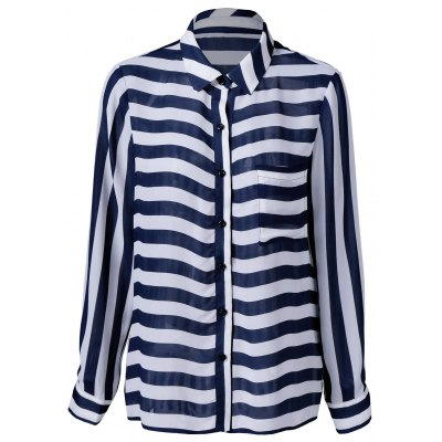 Single Pocket Striped Shirt