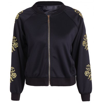Raglan Sleeve Embroidered Bomber Jacket