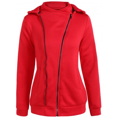 Hooded Inclined Zip Jacket