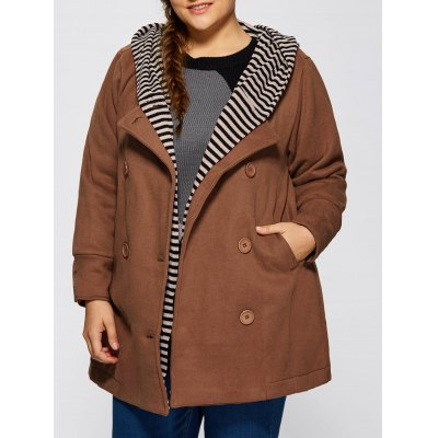 Striped Spliced Hooded Peacoat