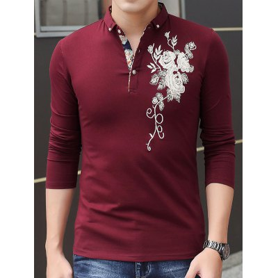 Long Sleeve Embroidered T Shirts
