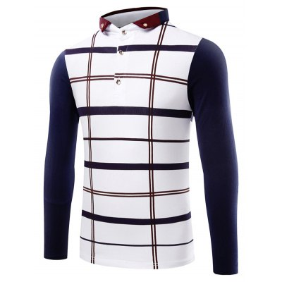 Contrast Insert Button Up Plaid Polo T-Shirt