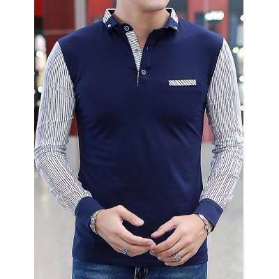 Chest Pocket Pinstriped Insert Polo T-Shirt
