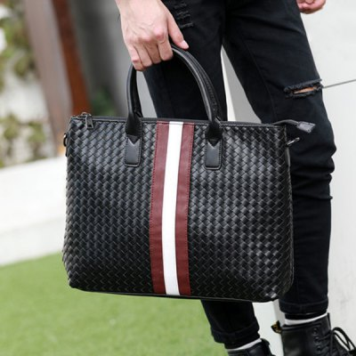 Colour Block Weave Striped Pattern Briefcase