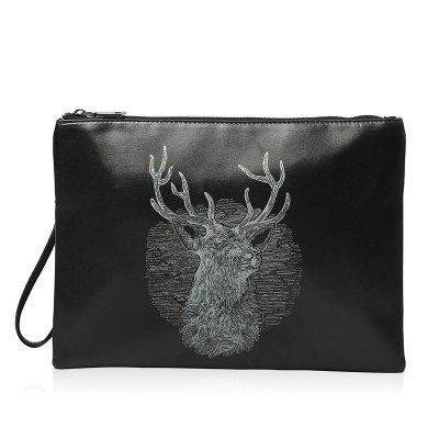 Colour Splicing Deer Print Clutch Bag