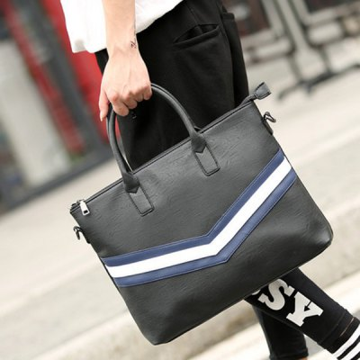 PU Leather Striped Pattern Colour Spliced Briefcase