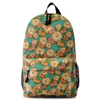 Clock and Floral Print Canvas Backpack