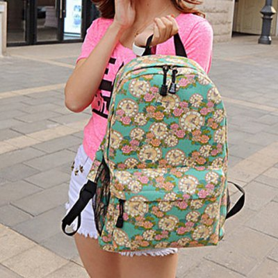 Zippers Clock and Floral Print Canvas Backpack