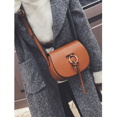 Metal Ring Faux Leather Saddle BagWomens Bags<br>Metal Ring Faux Leather Saddle Bag<br><br>Handbag Type: Crossbody bag<br>Style: Fashion<br>Gender: For Women<br>Pattern Type: Solid<br>Handbag Size: Small(20-30cm)<br>Closure Type: Cover<br>Interior: Interior Zipper Pocket<br>Occasion: Versatile<br>Main Material: PU<br>Weight: 0.505kg<br>Size(CM)(L*W*H): 21*8*17<br>Strap Length: 120CM (Adjustable)<br>Package Contents: 1 x Saddle Bag