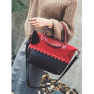 Suede Panel Zig Zag Tassel HandbagWomens Bags<br>Suede Panel Zig Zag Tassel Handbag<br><br>Handbag Type: Totes<br>Style: Fashion<br>Gender: For Women<br>Embellishment: Tassel<br>Pattern Type: Others<br>Handbag Size: Medium(30-50cm)<br>Closure Type: Zipper<br>Interior: Interior Zipper Pocket<br>Occasion: Versatile<br>Main Material: PU<br>Weight: 0.685kg<br>Size(CM)(L*W*H): 27*14*22<br>Strap Length: 125CM (Adjustable)<br>Package Contents: 1 x Handbag