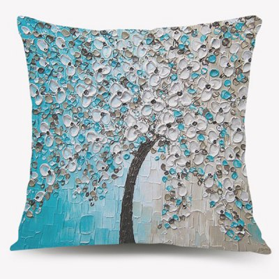 Oil Painting Blossom Tree Home Decorative Pillow Case