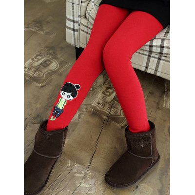 Cartoon Patch Thick Skinny Leggings