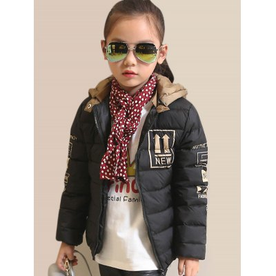 Graphic Hooded Down Puffer Jacket