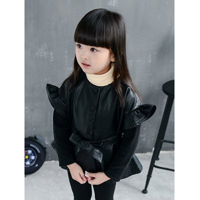 Girls Flounce Belt Faux Leather Jacket