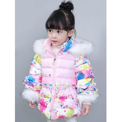 Faux Fur Trim Hooded Floral Padded Coat