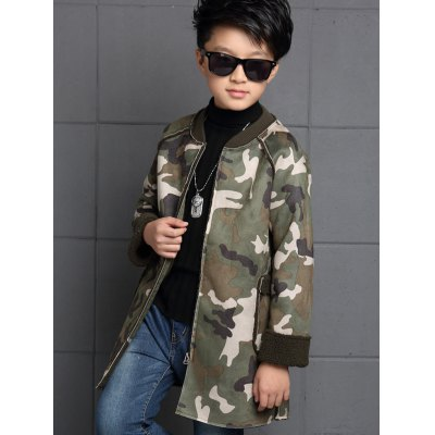 Boys Camouflage Print Long Coat