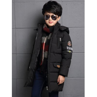 Hooded Labeling Long Puffer Coat