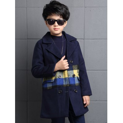 Boys Long Plaid Double Breasted Wool Coat