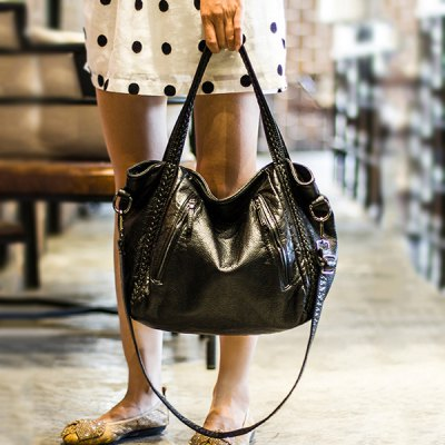 Faux Leather Weave Crossbody Bag