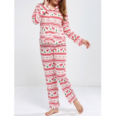 Christmas Deer Print Pajamas