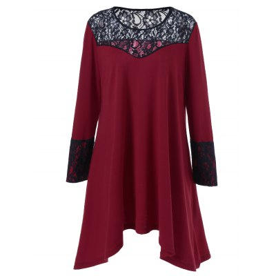 Plus Size Lace Trim Asymmetrical Dress