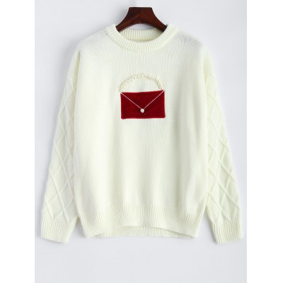 Patched Crew Neck Faux Pearl Sweater