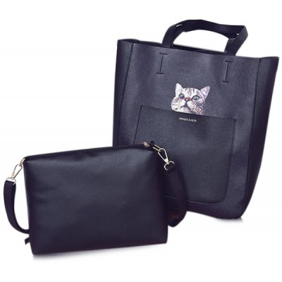 Open Faux Leather Tote Bag