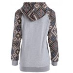cheap Front Pocket Jacquard Tribal Hoodie