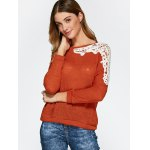 cheap Openwork Lace Panel Knitwear