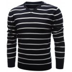 cheap V Neck Contrast Striped Sweater