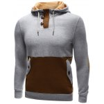 cheap Pocket Button Up Contrast Insert Elbow Patch Hoodie