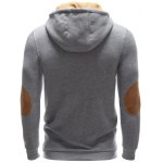 Pocket Button Up Contrast Insert Elbow Patch Hoodie deal