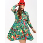 cheap Plus Size Christmas Tree Print Dress